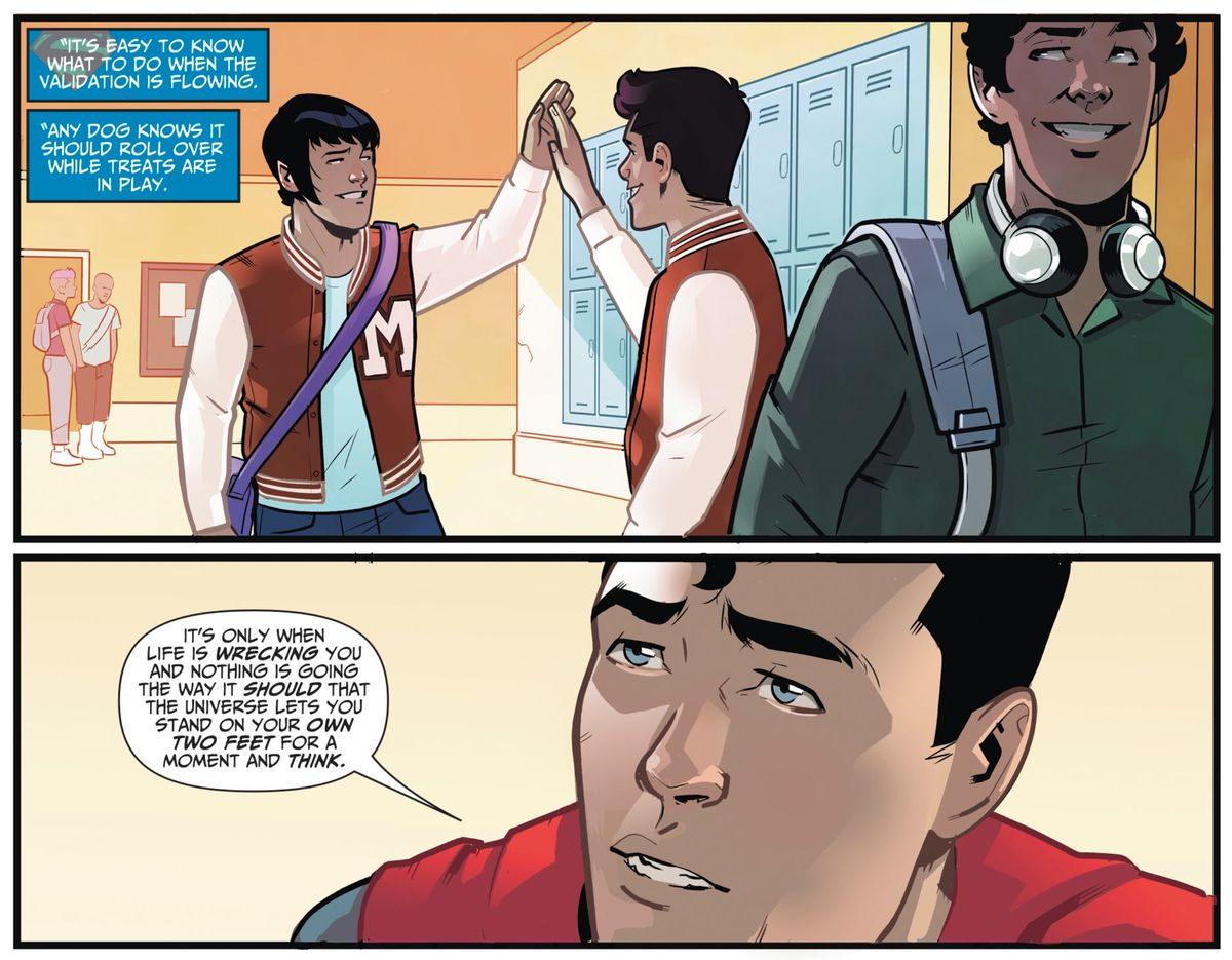 Superman explains that it's easy to be a hero when everyone believes in you, and its hard to stand up for your beliefs when you're alone, in The Wonder Twins #7, DC Comics (2019).