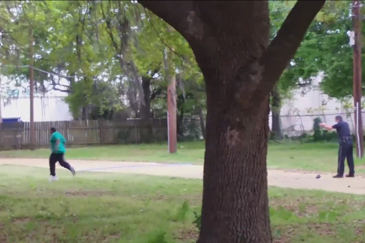 A screenshot taken from video of the police shooting of Walter Scott.