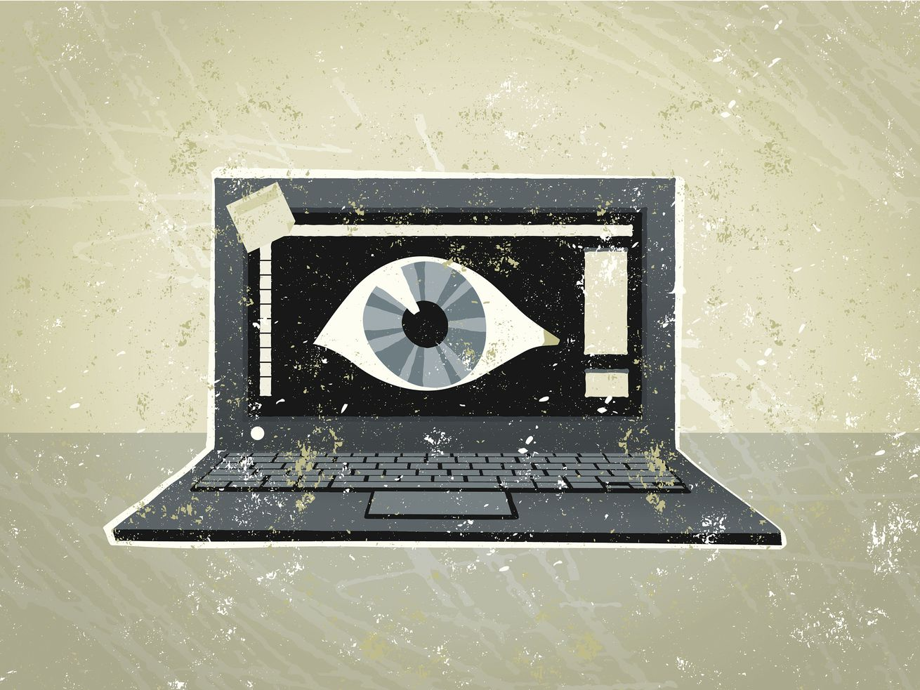A drawing of a laptop computer with an eyeball on its screen.