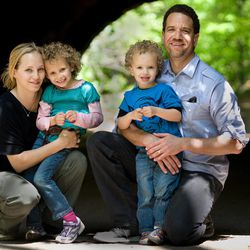 The Bearce family at Prospect Park in Brooklyn, N.Y. From left, Megan, Katherine, Austin and Ian. Megan Bearce says routine is vital to her family.