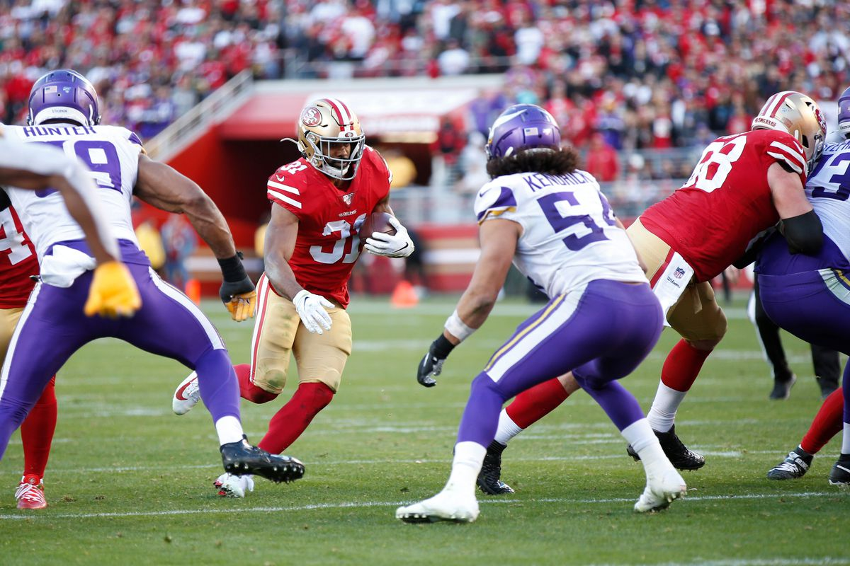 Raheem Mostert of the San Francisco 49ers rushes during the game against the Minnesota Vikings at Levi's Stadium on January 11, 2020 in Santa Clara, California.