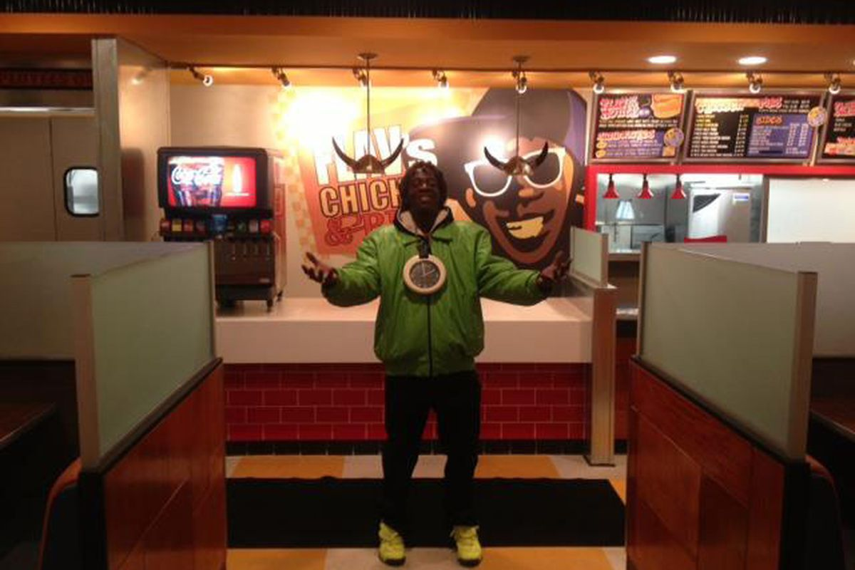 Flavor Flav at his brand new restaurant.