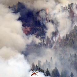 A helicopter flies over Willow Creek Canyon as a wildfire continues burning in the Sierra near Bass Lake, Calif., Monday, July 27, 2015. More wildfires have torn across California so far this year compared with the same period of 2014, but firefighters said Monday that efforts to confine and extinguish the latest blazes have been more successful than in the past.