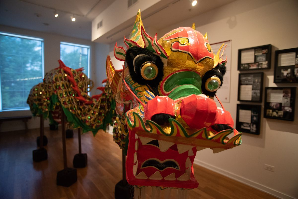This dragon is part of an exhibit on the Chinese immigrant experience at at the Chinese American Museum.   Colin Boyle/Sun-Times