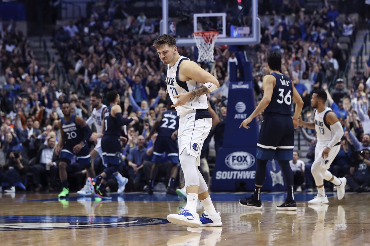 Dallas Mavericks forward Luka Doncic reacts after scoring during the second half against the Minnesota Timberwolves at American Airlines Center.