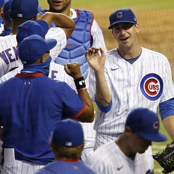 Kyle Hendricks and his teammates not social distancing after Kyle's three-hit shutout win, July 24