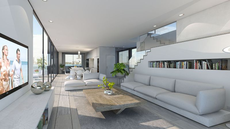 Rendering of white living room with wooden floors
