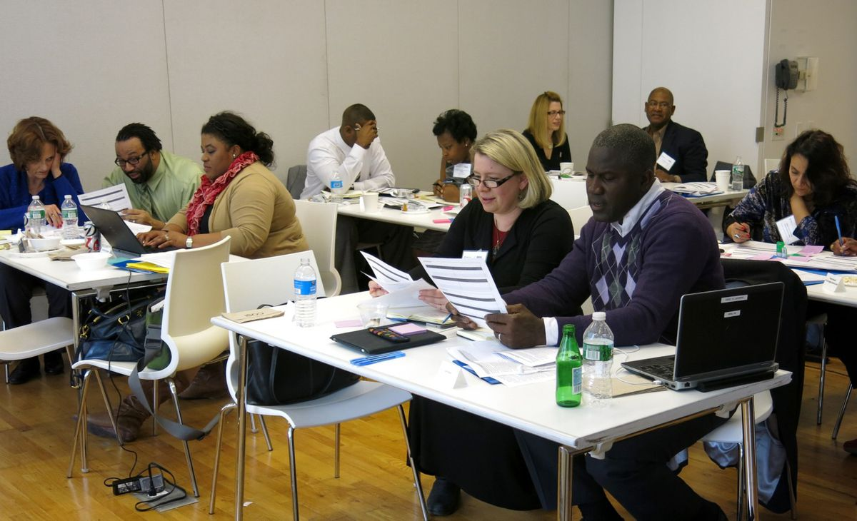 Leaders from small charter school networks across the country met in New York in March for an Achievement First-led training program focused on the Common Core. Ian Rowe, CEO of Public Prep in New York, is seated at the bottom right.