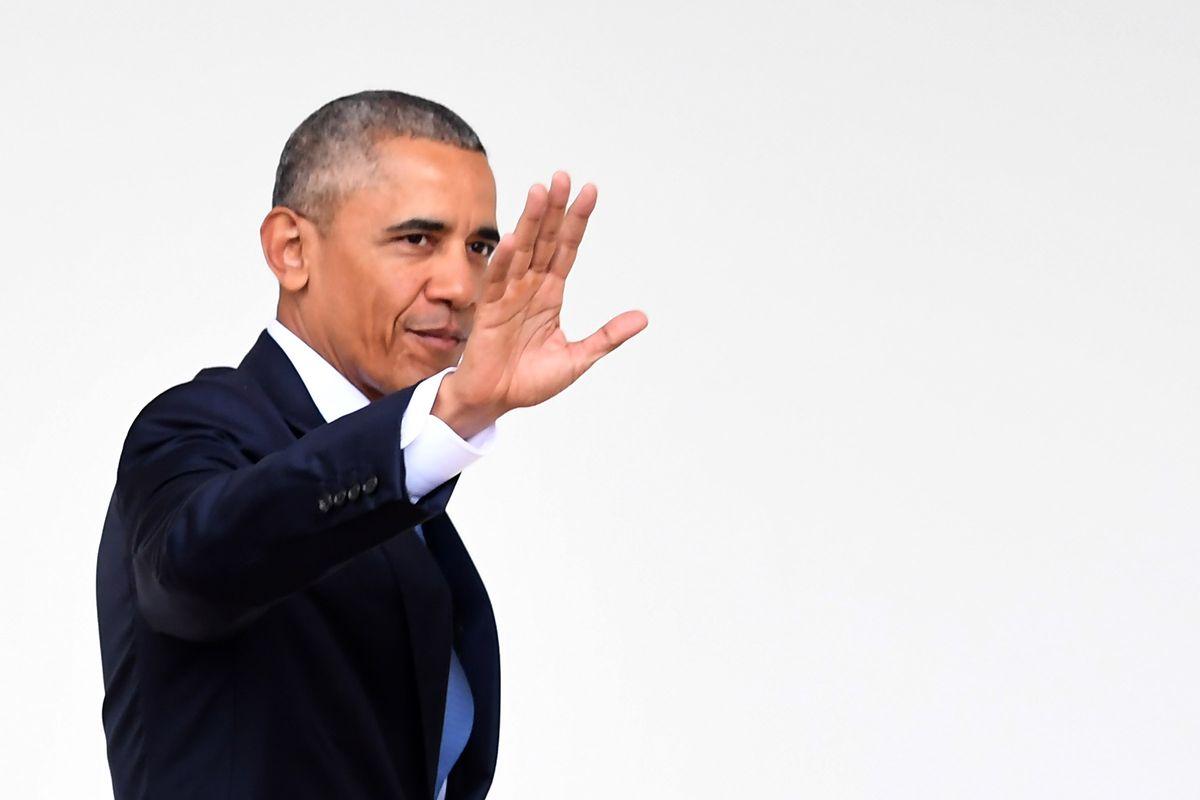 President Obama waving