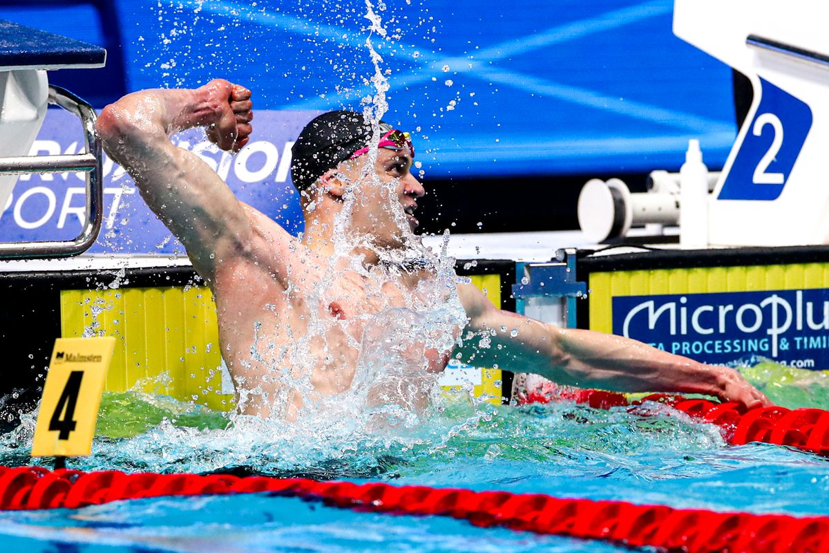 Ari-Pekka Liukkonen reacts after winning the gold medal in the 50 meters at the European Aquatics Championships in May.