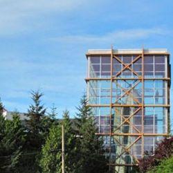 The Pinnacle, 65' high climbing wall at REI Seattle.
