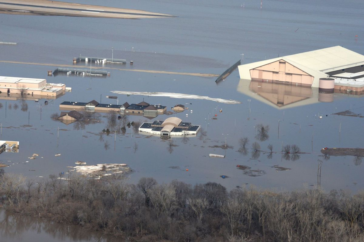 Offutt Air Force Base in Nebraska faced severe flooding after recent storms. Planners knew the base was vulnerable but hadn't completed upgrades in time.