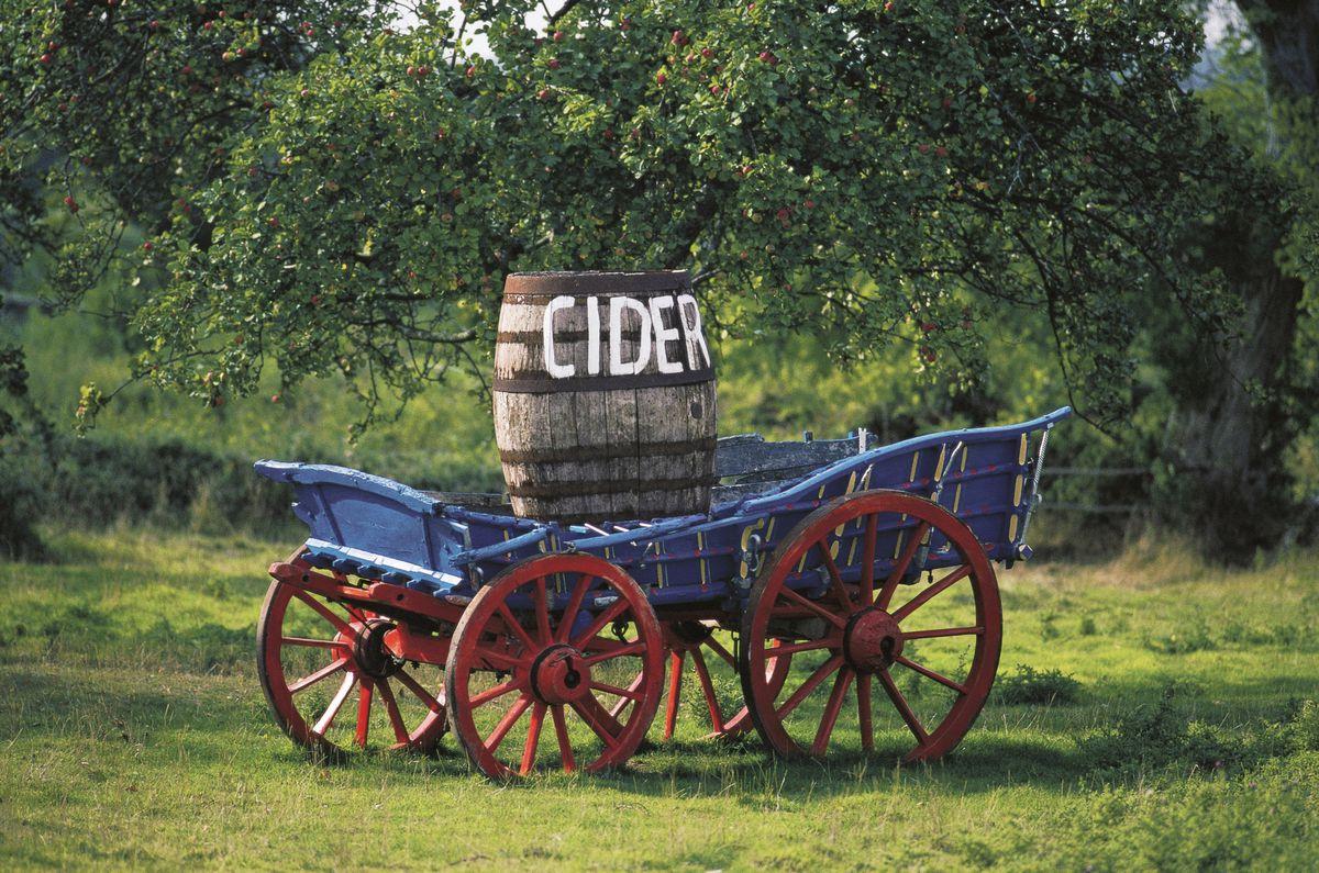 Cider barrel on a wooden cart, Somerset