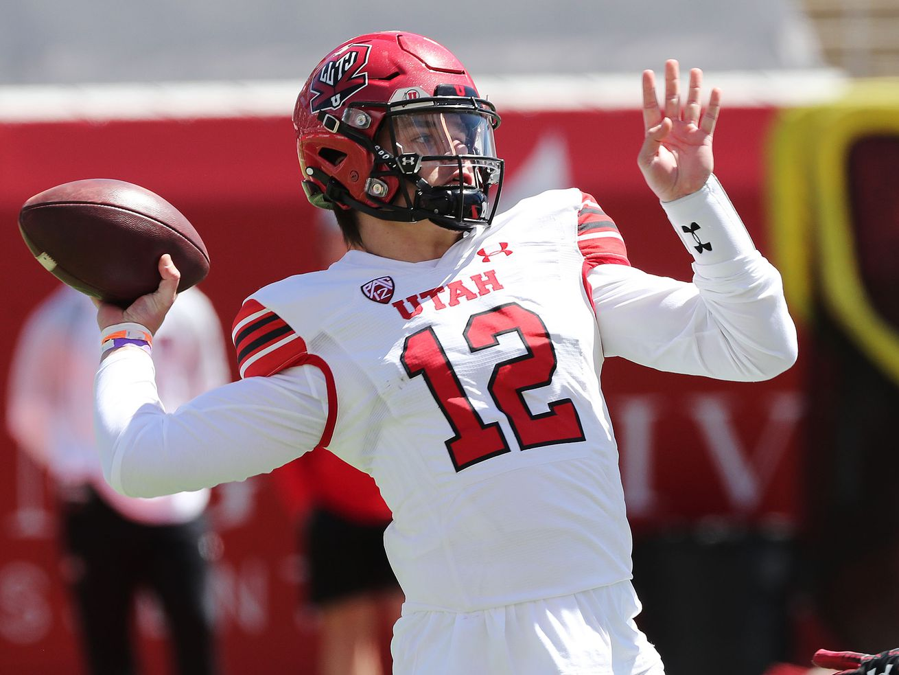 Utah Utes quarterback Charlie Brewer (12) throws during the Red and White game in Salt Lake City on Saturday, April 17, 2021.