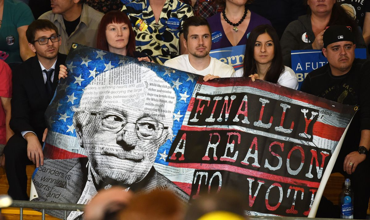 Ethan Miller/Getty A banner at a Sanders rally in Nevada.