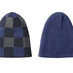 Reversible Ribbed Beanie in Navy/Grey  Plaid, $14.99
