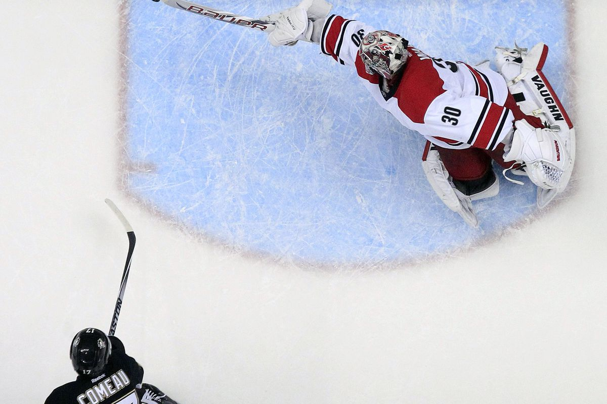 Cam Ward won't start tonight, meaning he won't be able to one-up this save from last night, but let's just enjoy it again anyway.