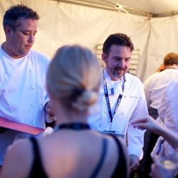 Uchi's Philip Speer and Tyson Cole hand out tacos on Saturday night. // photo by Patrick Michels