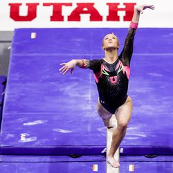 Utah's Abby Paulson competes on the beam during a meet against Arizona at the Huntsman Center in Salt Lake City on Saturday, Jan. 23, 2021.