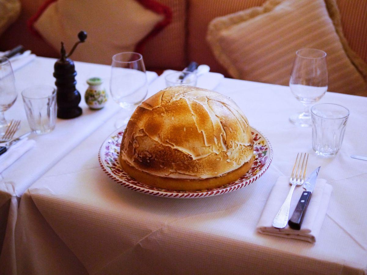 Gloria Italian restaurant from Big Mamma in Shoreditch: lemon meringue pie on the menu for dessert