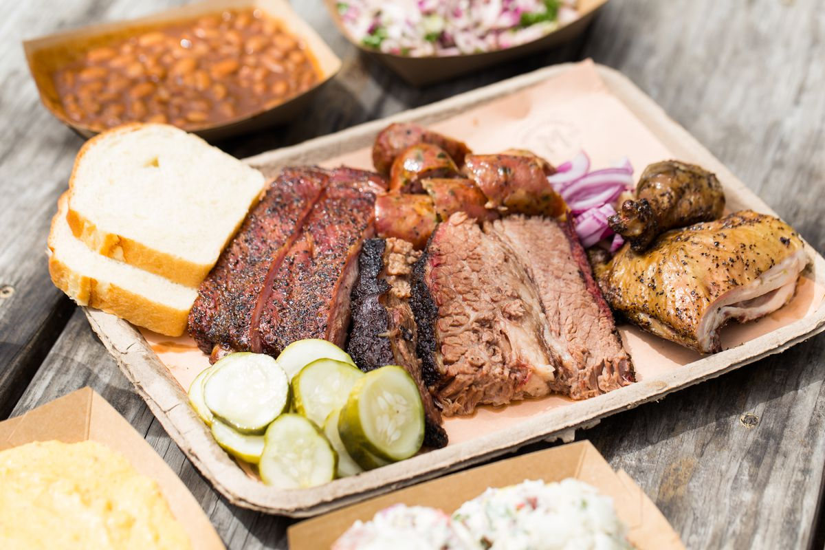 A tray of barbecue from Micklethwait Market and Grocery