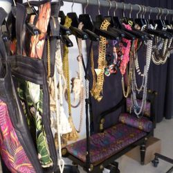 The $100 rack complete with Dana Lorenz's foray into handbags, Fenton F/W 2010 pieces and rope necklaces (middle-left) from the Proenza Schouler show