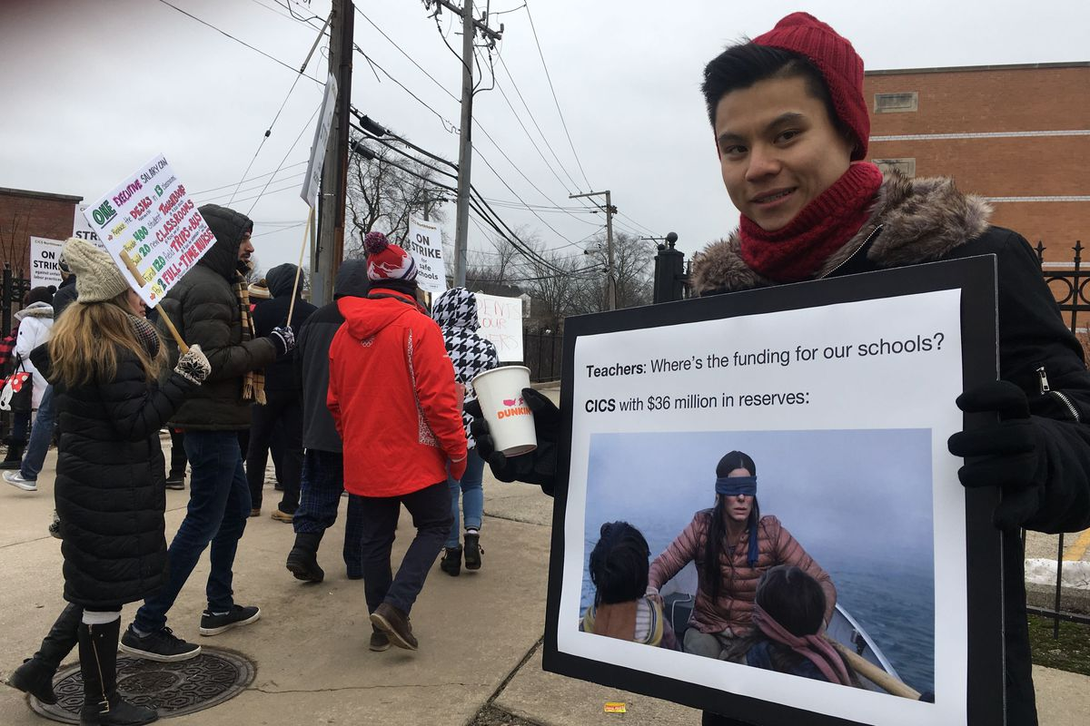 Kha Tran, a second-year social studies teacher at CICS Northtown, went on strike for the first time on Tuesday morning.