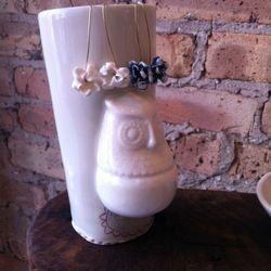Ceramic earrings, $40; Ceramic owl tumbler, $32, Both by Melissa Crotty