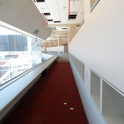 This is the press box area. It's pretty huge. This is the second level, with another stretch running right in front of it