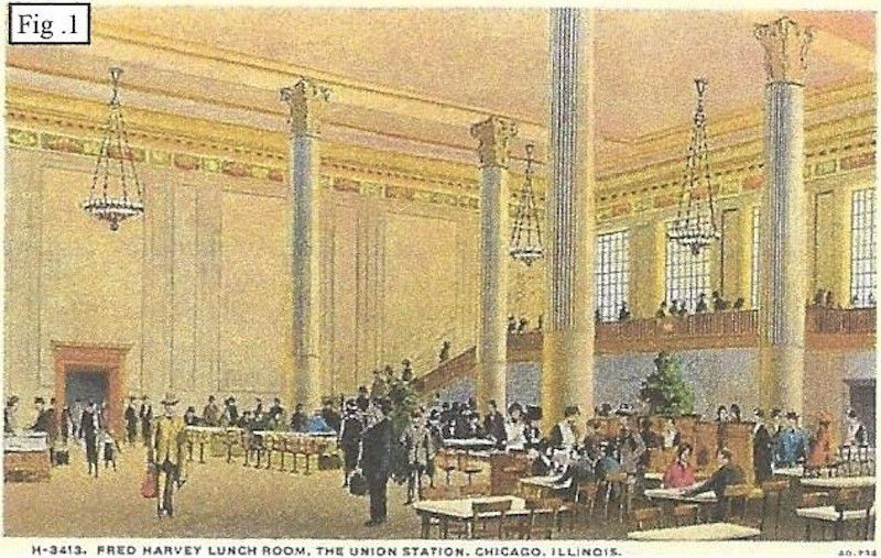 A drawing of an ornate dining room with four classical columns, a large wall of windows, and hanging chandeliers. There are tables and diners in old fashioned hats and clothing.
