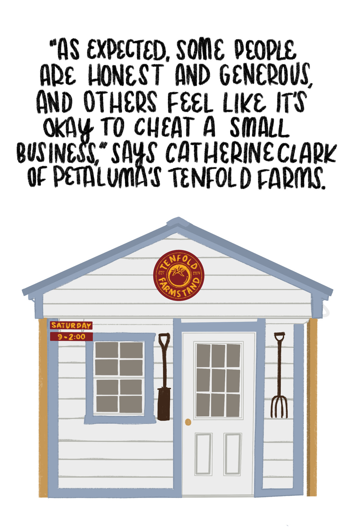 """""""As expected, some people are honest and generous. And others feel like it's ok to cheat a small business,"""" says Catherine Clark of Petaluma's Tenfold Farms."""" [Below the quote is an illustration of the farmstand.]"""