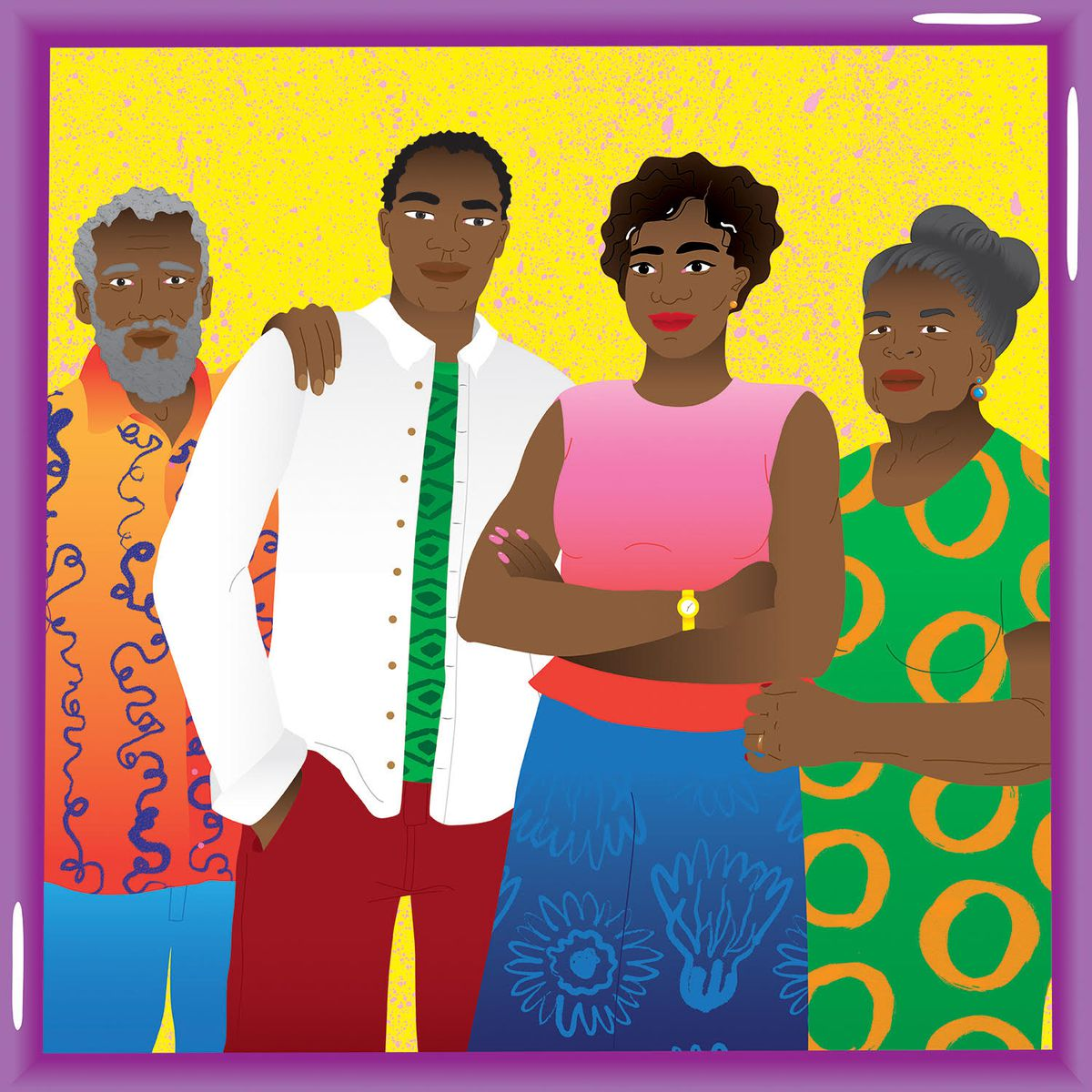 A drawing of a portrait of a Black family with two adult children and their parents.