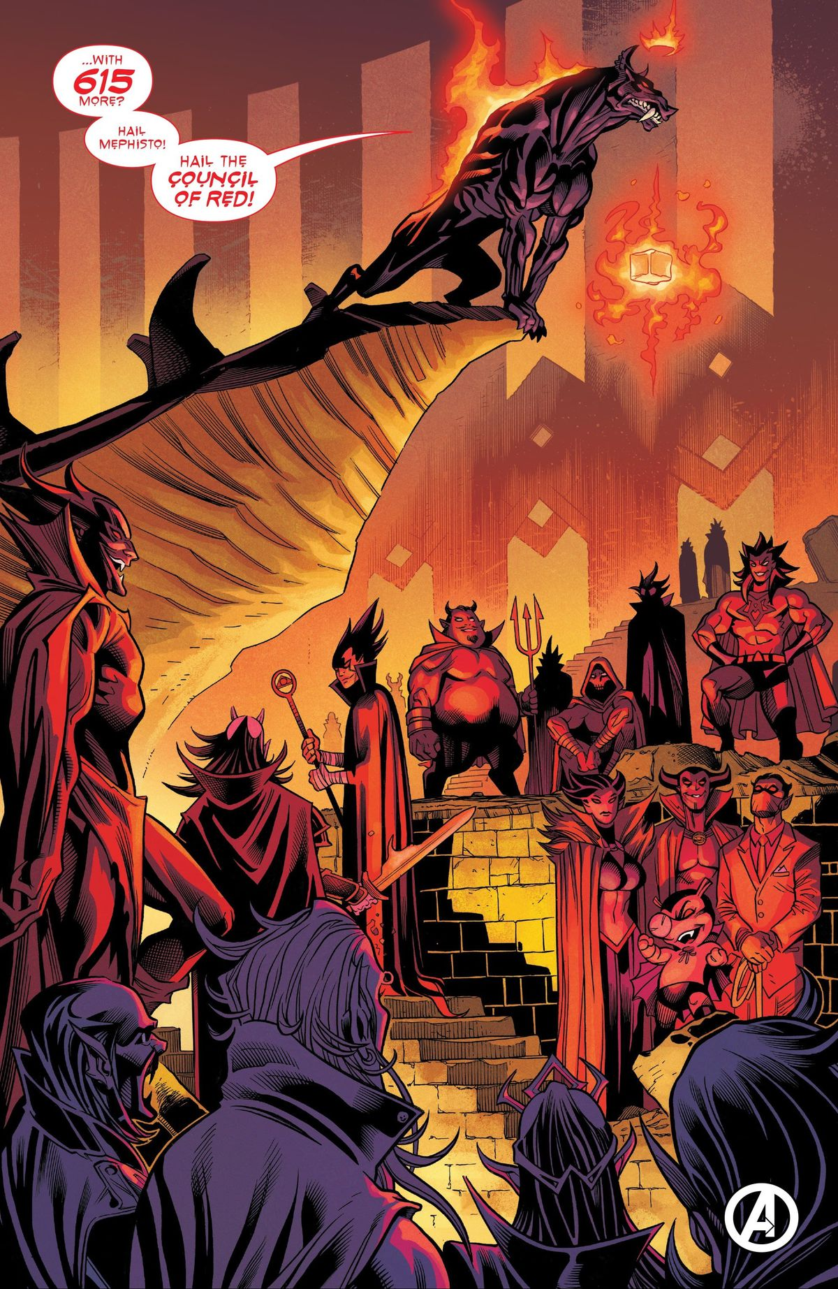 Mephisto, in the form of a hellhound, welcomes 615 alternate universe Mephistos to the Council of Red in Heroes Return #1 (2021).