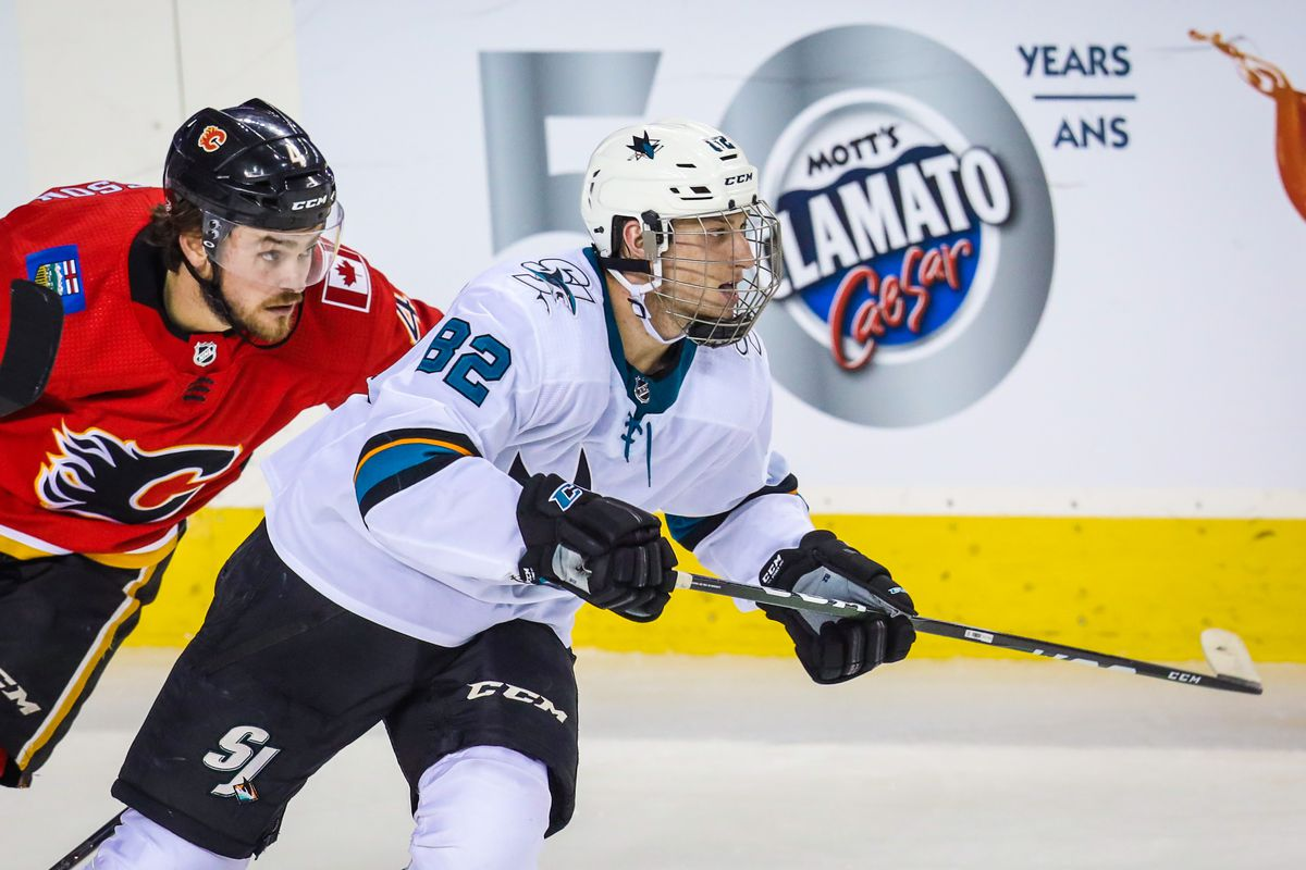 Sep 18, 2019; Calgary, Alberta, CAN; San Jose Sharks left wing Ivan Chekhovich (82) skates against the Calgary Flames during the third period at Scotiabank Saddledome. Calgary Flames won 6-4.