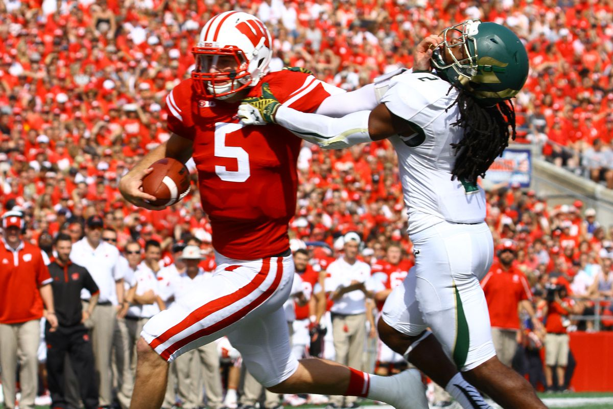 Wisconsin quarterback Tanner McEvoy displayed an impressive stiff arm a few times during Saturday's win over South Florida.
