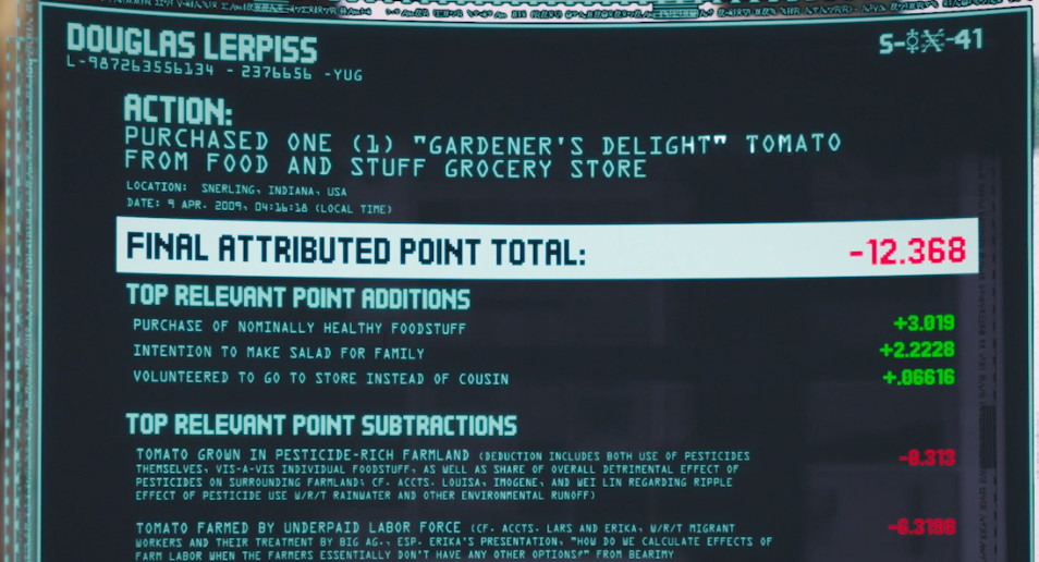 """A screen shot of Douglas Lerpiss's point total, showing additions and subtractions for """"Purchased one (1) 'Gardener's Delight' tomato from Food and Stuff grocery store"""""""