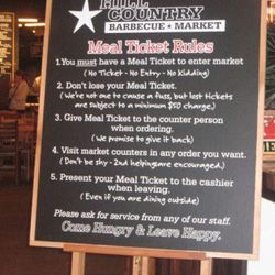 Hill Country isn't your regular restaurant with waiter service. Hold onto those meal tickets.