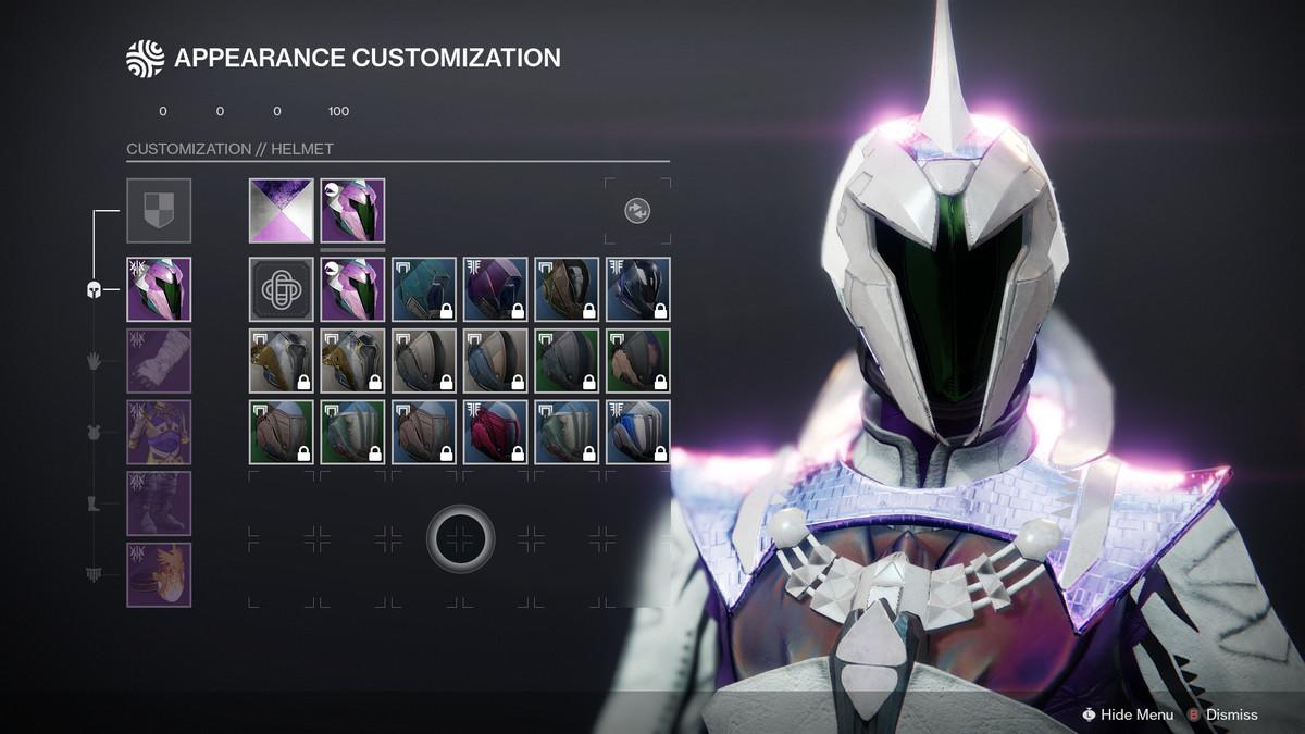 Destiny 2 Transmog system helmet customization