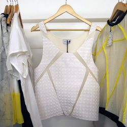 """A holographic top from <a href=""""http://www.raphaellehlimi.com"""">Raphaelle H'Limi</a>'s """"Polygon Skies"""" S/S 2014 collection"""