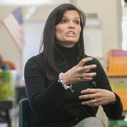 Daybreak Elementary School Assistant Principal Cindy Tingey talks about HB318, which would set class-size caps at 20 students for kindergarten, 22 for first and second grades, and 24 for the third grade, Monday, Feb. 25, 2013.