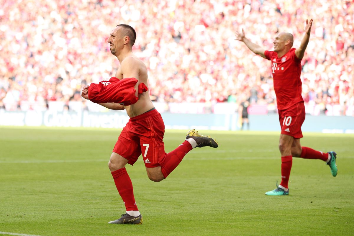 MUNICH, GERMANY - MAY 18: Franck Ribery of Bayern Munich celebrates after scoring his team's fourth goal during the Bundesliga match between FC Bayern Muenchen and Eintracht Frankfurt at Allianz Arena on May 18, 2019 in Munich, Germany.