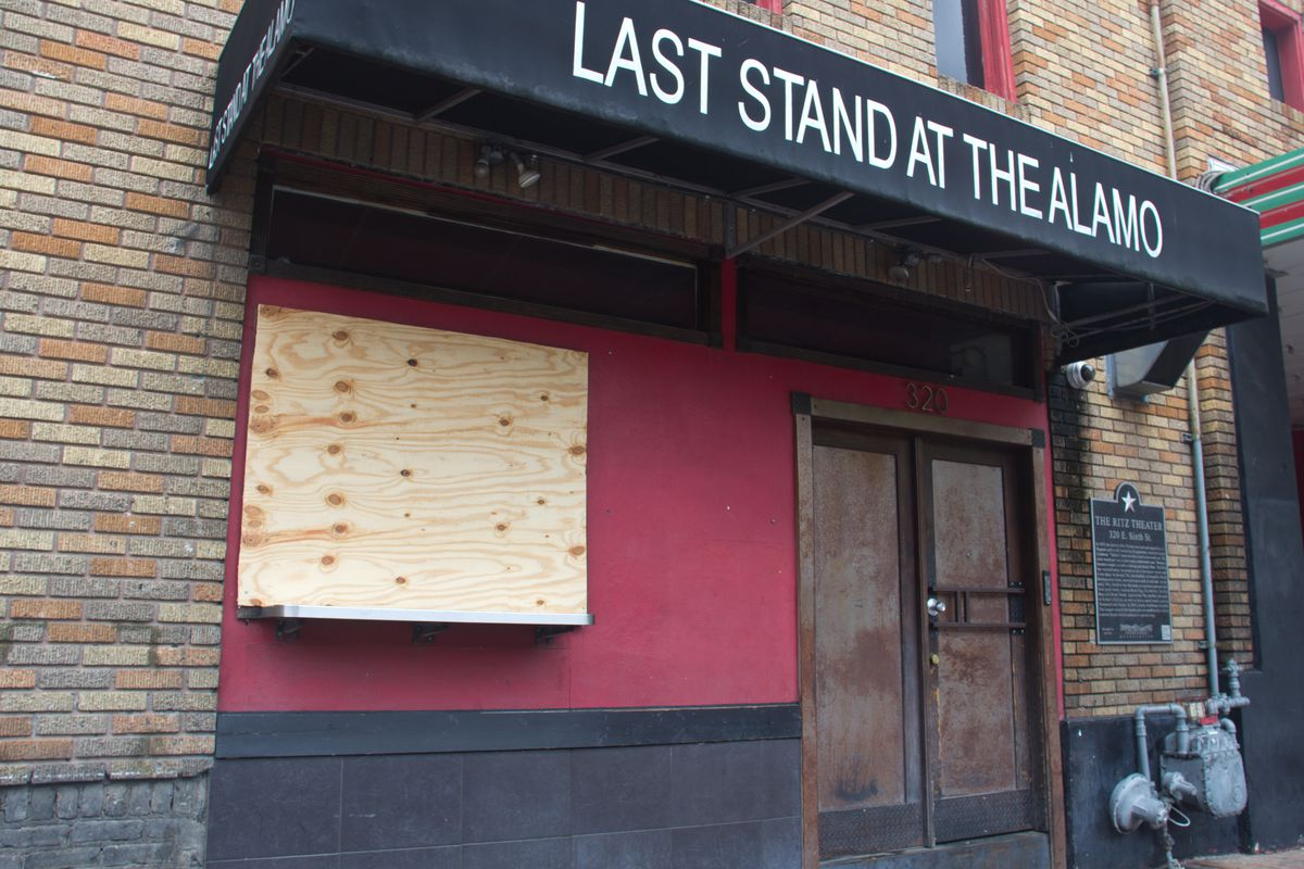 Alamo Drafthouse's walk-up food window Last Stand at the Alamo is boarded up