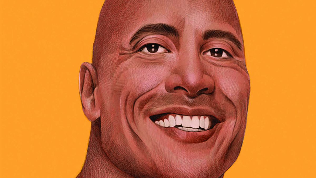 """Illustration of """"The Rock"""" smiling"""