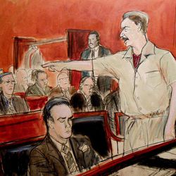 """In this courtroom illustration, Russian arms dealer Viktor Bout, right, shouts; """"It's a lie!"""" at a prosecutor telling the court that he agreed to sell weapons to kill Americans, during his sentencing at the federal courthouse in New York, Thursday, April 5, 2012. Bout was sentenced to 25 years in prison far short of the life term prosecutors sought for his conviction on terrorism charges that grew from a U.S. sting operation."""