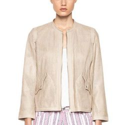 """<a href=""""http://www.forwardforward.com/fw/DisplayProduct.jsp?code=ETOI-WO3&d=Womens""""> Calvin Perforated Washed Leather Jacket in Beige</a>, $607 (was $1,145)"""