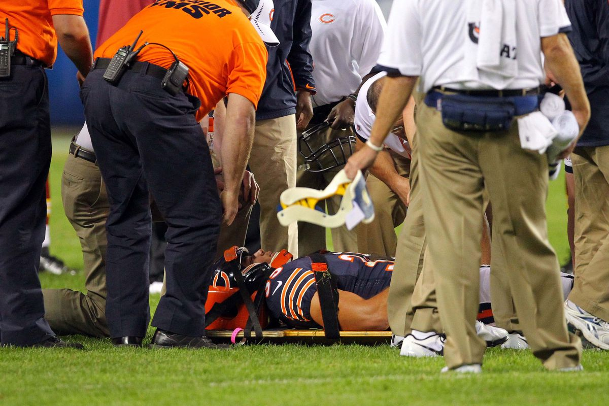 Aug 18, 2012; Chicago, IL, USA; Chicago Bears free safety Brandon Hardin (35) is injured on the field during the second half against the Washington Redskins at Soldier Field. The Bears won 33-31. Mandatory Credit: Dennis Wierzbicki-US PRESSWIRE