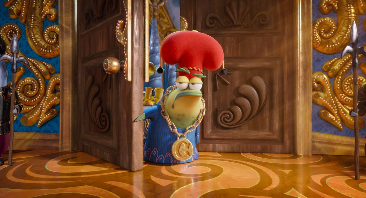 A froglike chancellor in a poofy red hat, blue robe, and a giant medallion stands in front of a fancy door in Sponge on the Run.