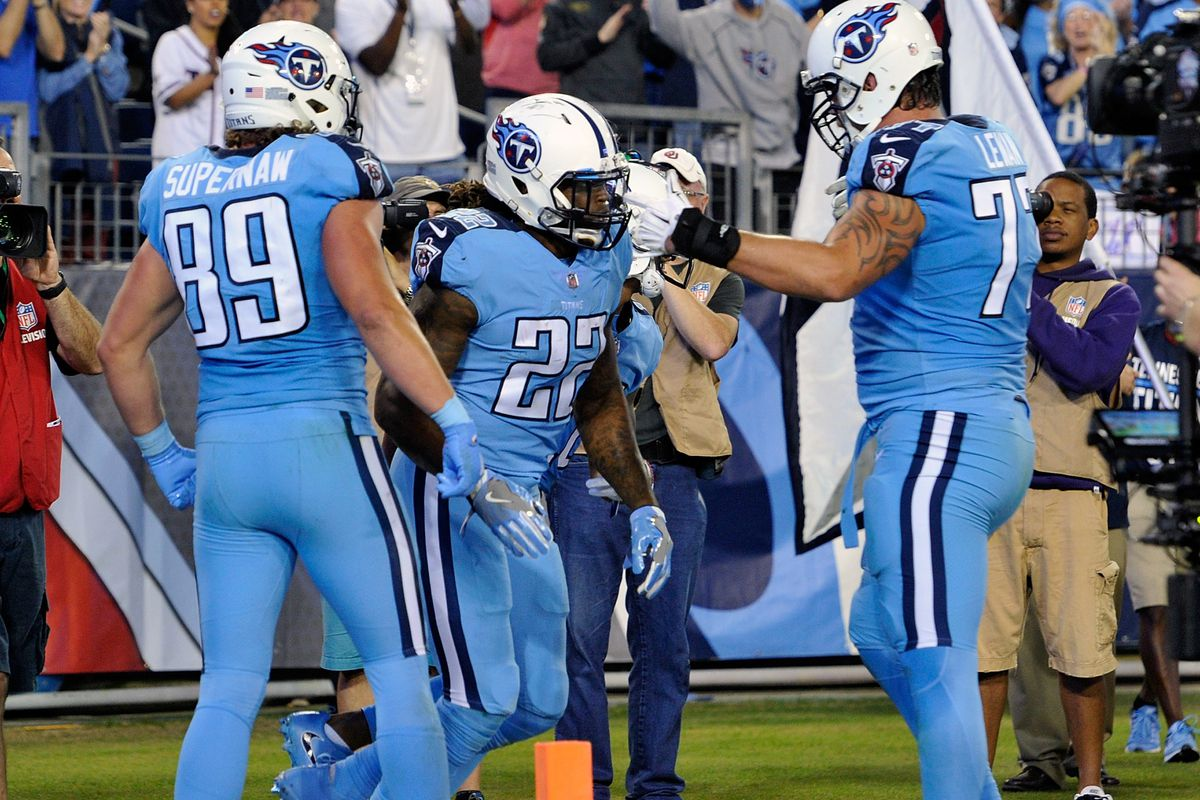 Titans players can t decide if  Smurf look  Color Rush uniforms are ... e5fa325df10