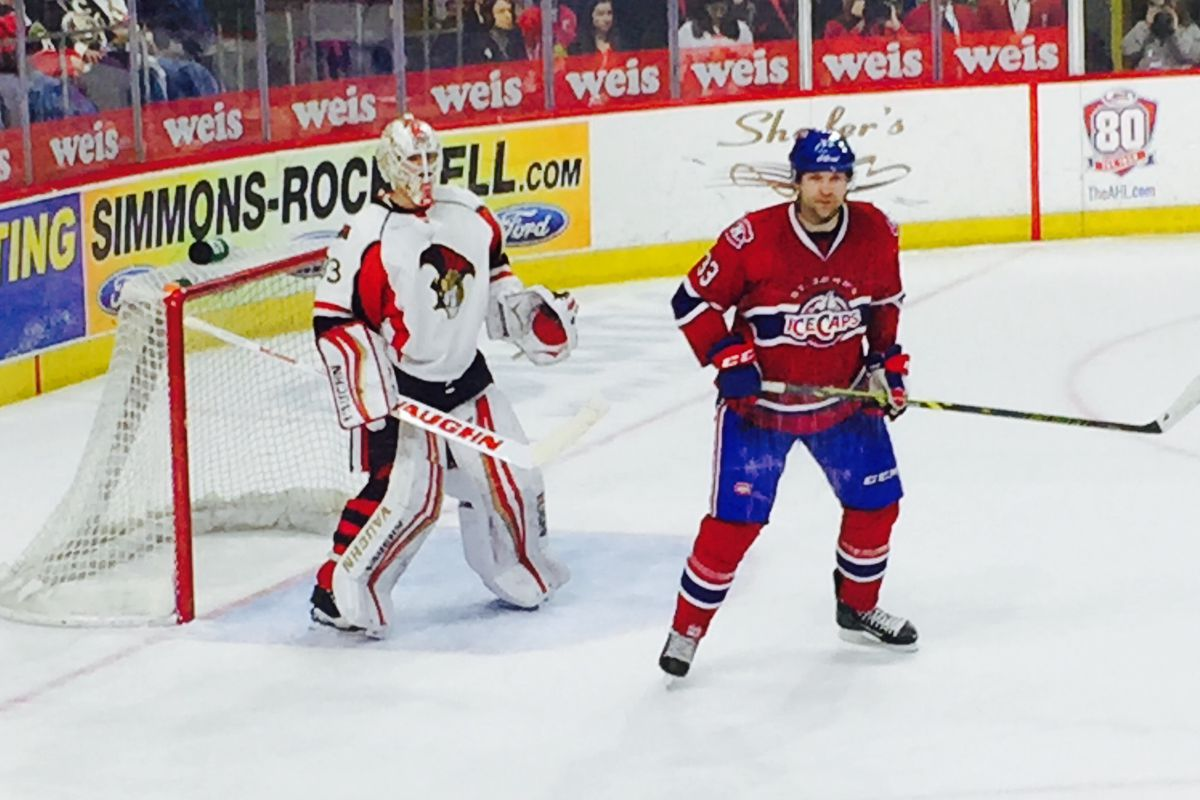 John Scott sets up in front on a power play for St. John's in Senators 2-1 win on Friday