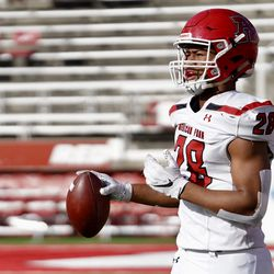 American Fork's Bodie Schoonover warms up prior to a game at Rice-Eccles Stadium in Salt Lake City. Schoonover was rated the No. 5 prospect from the state of Utah in the 2020 recruiting class, according to 247 Sports.